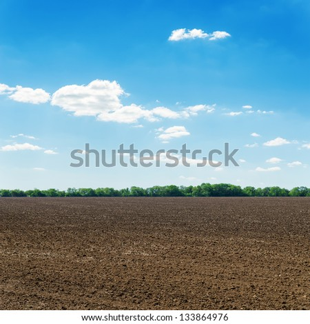 plowed black spring field and white clouds on blue sky - stock photo