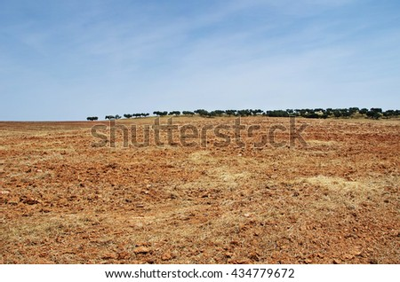 plowed field and trees in horizon - stock photo