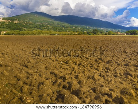 plowed field in the Tuscan countryside