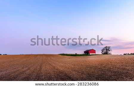 Plowed field on a Maryland Farm near sunset in Springtime - stock photo
