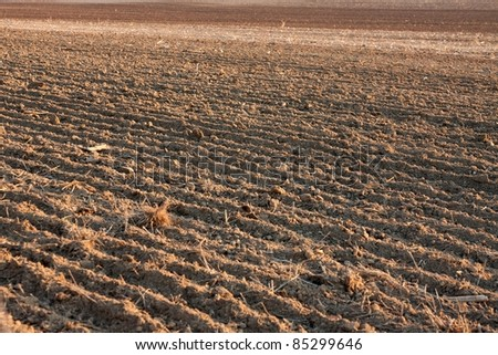Plowed soil of an agricultural field - stock photo
