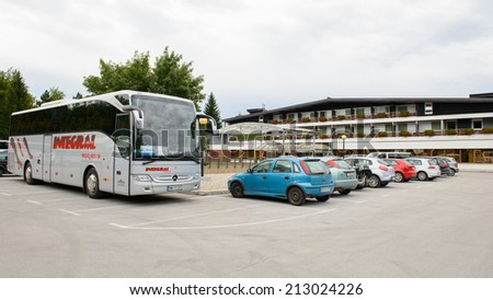 PLTVICE LAKES NATIONAL PARK AREA, CROATIA - AUGUST 19, 2014: Parking of the Hotel Jezera in Croatia. It is located in the central zone of the Plitvice Lakes National Park, a UNESCO World Heritage