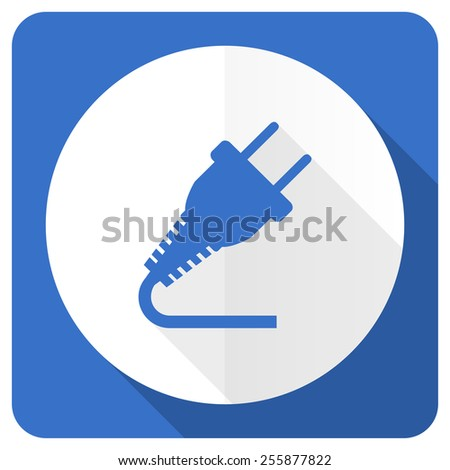 plug blue flat icon electricity sign  - stock photo