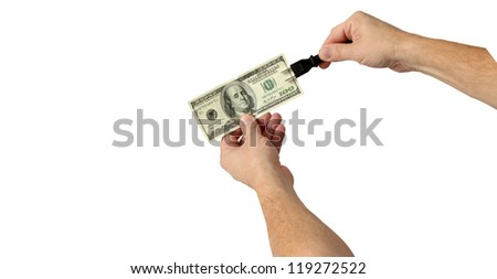 Plug In and Electrify Your Money for Good Results Isolated on White - stock photo