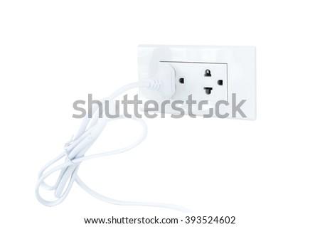 Plug power socket  Isolated  White Background - stock photo