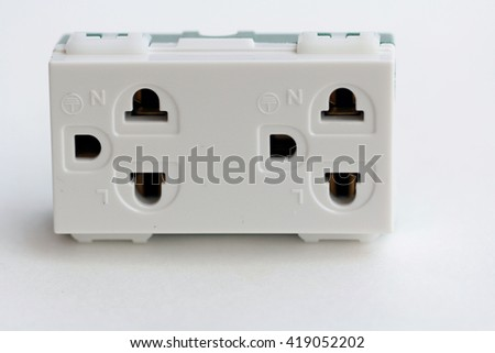 Plug power socket Isolated White Background
