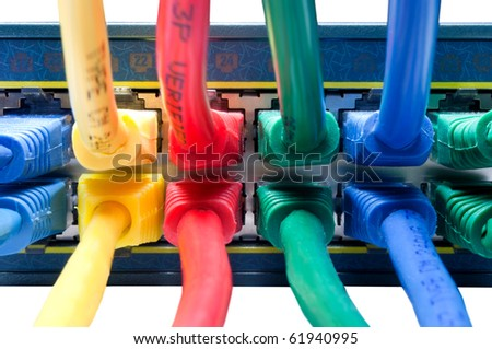 Plugged in Online - Rainbow Colored Ethernet Network Cables Connected to Switch, Hub, Router - stock photo