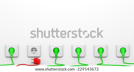 Plugs and sockets. 3D illustration. - stock photo