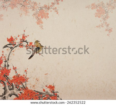plum blossom and birds on old antique paper texture - stock photo