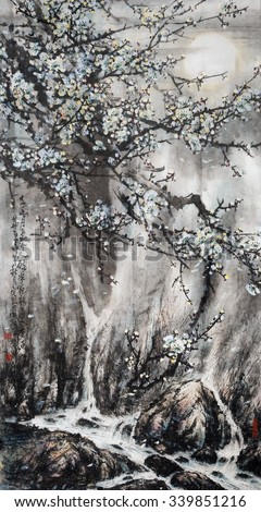 Plum Blossom on.Traditional Chinese Painting.