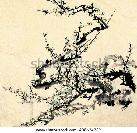 Plum Blossom. Traditional chinese ink painting. - stock photo