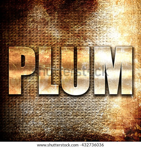 plum, 3D rendering, metal text on rust background - stock photo