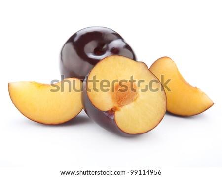 Plum fruit isolated on white background - stock photo