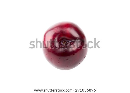 plum isolated on a white background juicy ripe red - stock photo