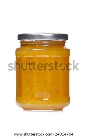 Plum jam glass jar reflected on white background - stock photo