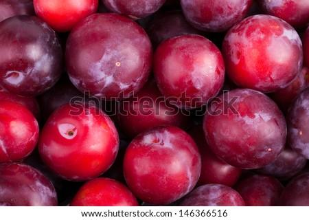 plum many red closeup whole - stock photo