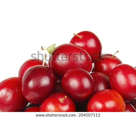 Plum on white - stock photo