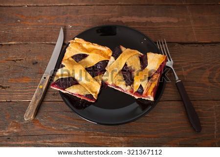 Plum Pie Slice - stock photo
