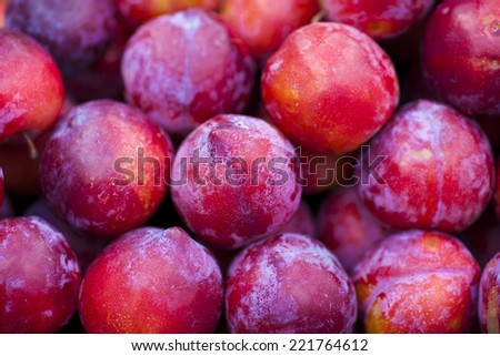Plum, prunes on a market