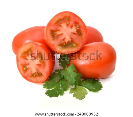 Plum tomatoes on white background  - stock photo