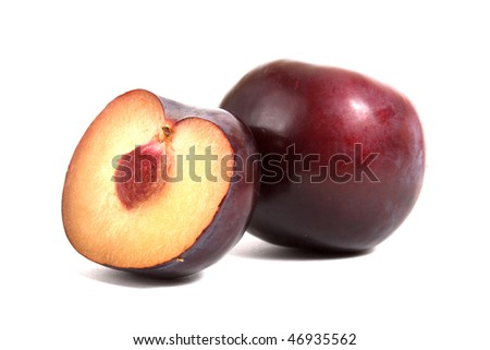 plum with half isolated on white background