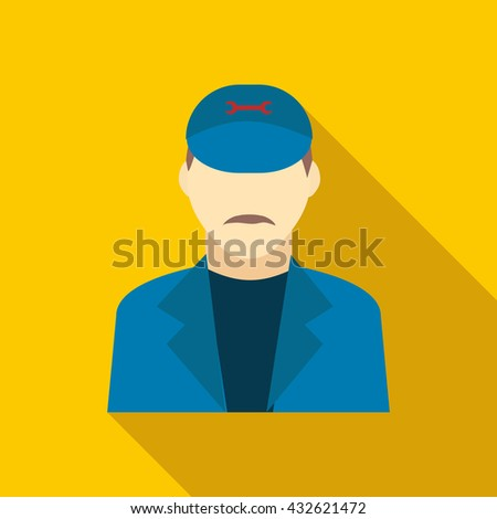 Plumbe in a blue uniform icon, flat style - stock photo