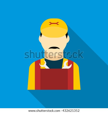 Plumber icon in flat style - stock photo