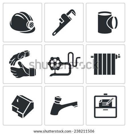 Plumber profession Icons Set Isolated on a white background - stock photo