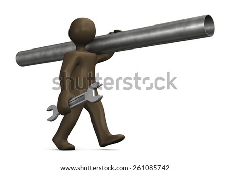 Plumber with spanner, 3d illustration with black cartoon character - stock photo