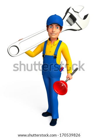 Plumber with wrench and toilet plunger