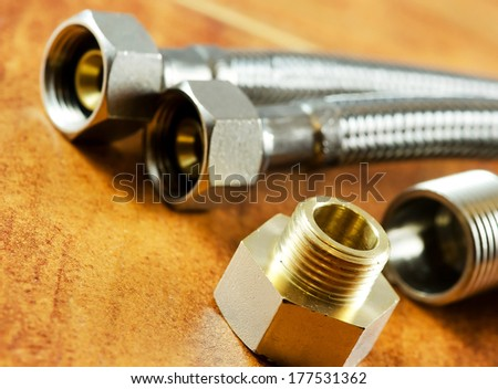 Plumbing accessories close up image. - stock photo