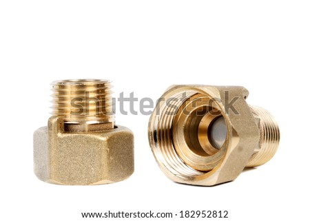 Plumbing connecting detail, it is isolated on the white. - stock photo