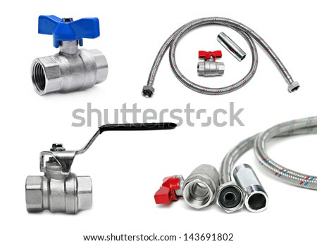 Plumbing devices isolated on white - stock photo