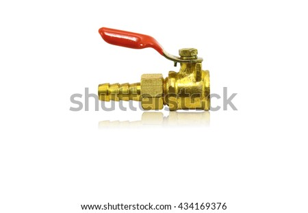 Plumbing fitting and ball valve, isolated on white background - stock photo