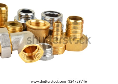 Plumbing fitting and tubulure, isolated on white background      - stock photo