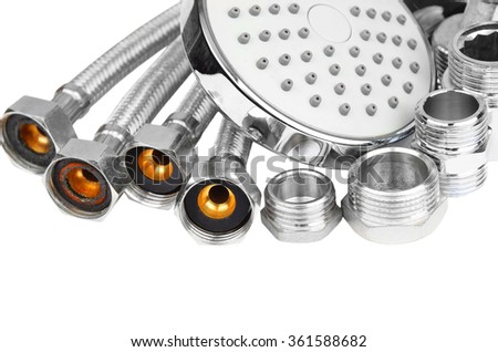 Plumbing fitting, hosepipe and showerhead, isolated on white background