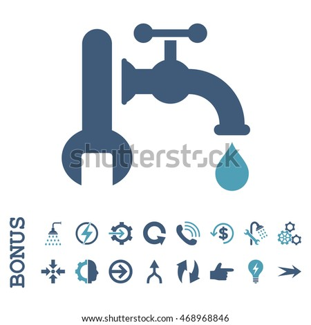 Plumbing glyph bicolor icon. Image style is a flat pictogram symbol, cyan and blue colors, white background.
