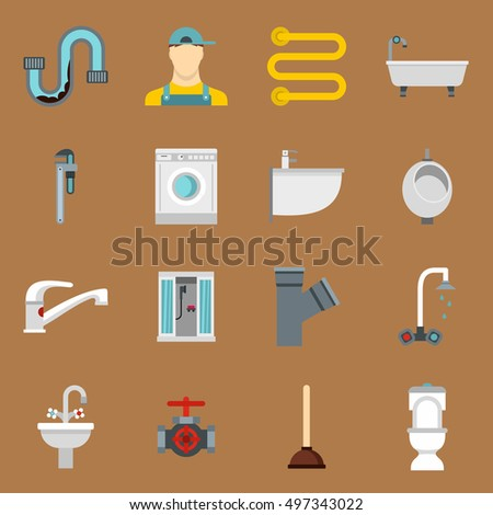 Plumbing icons set in flat style on a sandy brown background. Sanitary equipment set collection  illustration