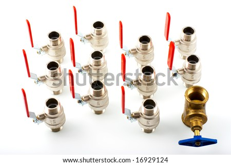 Plumbing various valve with red and blue levers