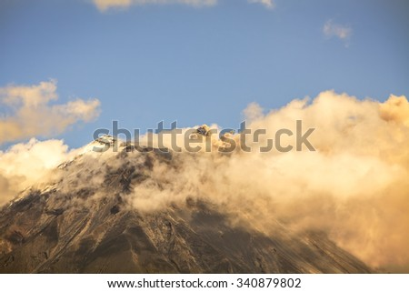 Plume Of Ash And Steam From The Tungurahua Volcano, South America - stock photo