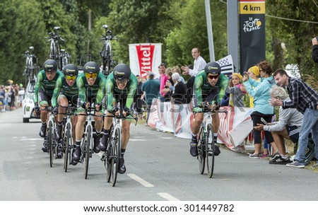 PLUMELEC,FANCE - JUL 12:Team Europcar riding the Team Time Trial stage between Plumelec and Vannes, during Tour de France on 12 July, 2015. - stock photo