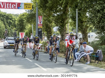 PLUMELEC,FANCE - JUL 12:Team MTN-Qhubeka riding the Team Time Trial stage between Plumelec and Vannes, during Tour de France on 12 July, 2015. - stock photo