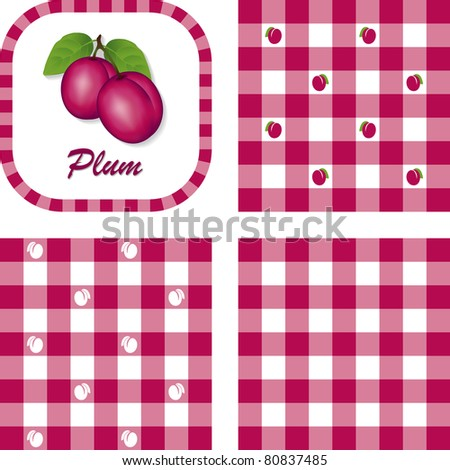 Plums and Gingham, seamless patterns in three purple check designs, fresh garden fruit illustration label tag with text.