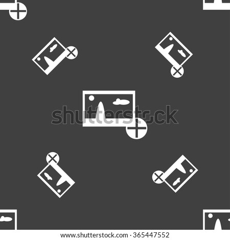 Plus, add File JPG sign icon. Download image file symbol. Seamless pattern on a gray background. illustration - stock photo