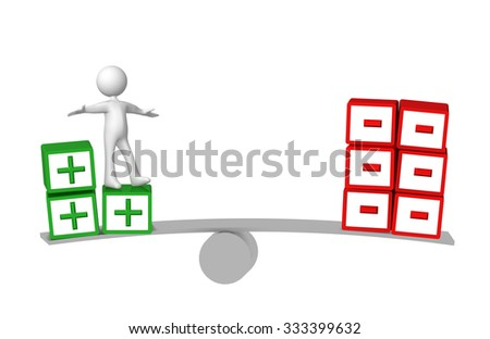 plus minus balance, white character - stock photo