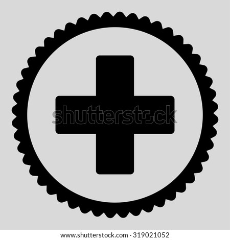 Plus round stamp icon. This flat glyph symbol is drawn with black color on a light gray background. - stock photo