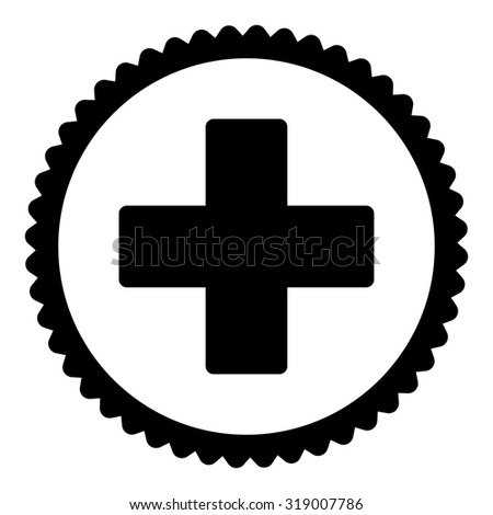 Plus round stamp icon. This flat glyph symbol is drawn with black color on a white background. - stock photo