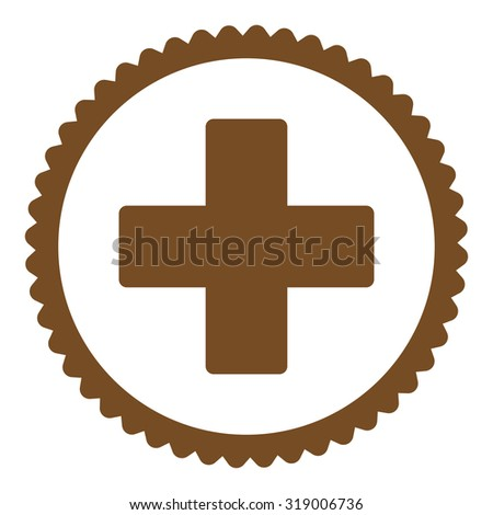 Plus round stamp icon. This flat glyph symbol is drawn with brown color on a white background. - stock photo