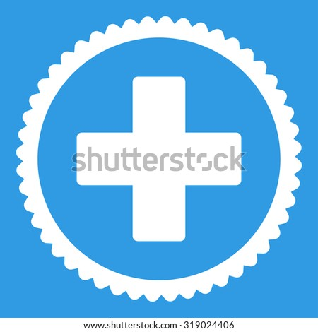 Plus round stamp icon. This flat glyph symbol is drawn with white color on a blue background. - stock photo