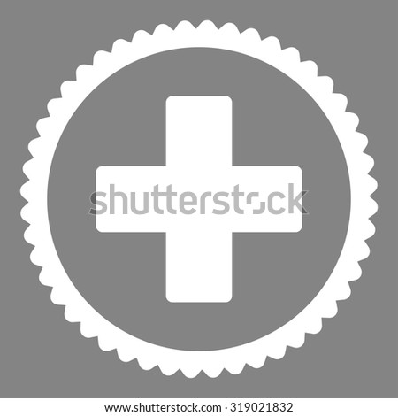 Plus round stamp icon. This flat glyph symbol is drawn with white color on a gray background. - stock photo